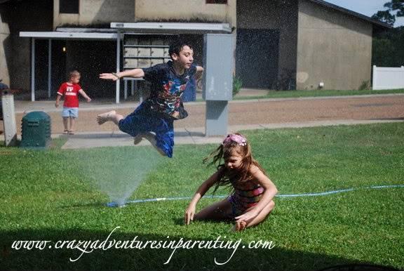 funny crane kick sprinkler