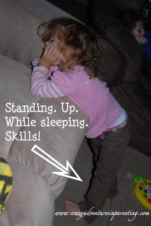 Kids sleep anywhere, even standing up