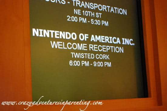 Nintendo cocktail party sign in Hyatt lobby