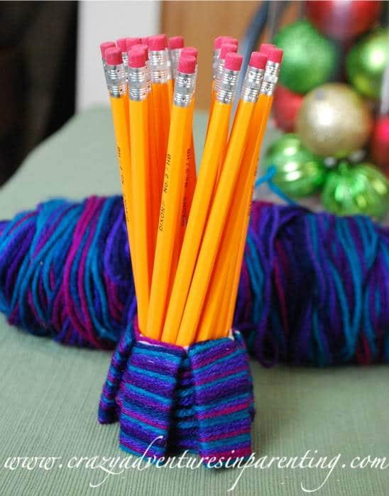 Kid-Friendly Craft: Recycled Yarn Cozi Pencil Holder