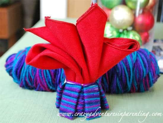 Kid-Friendly Craft: Recycled Yarn Cozi Napkin Holder