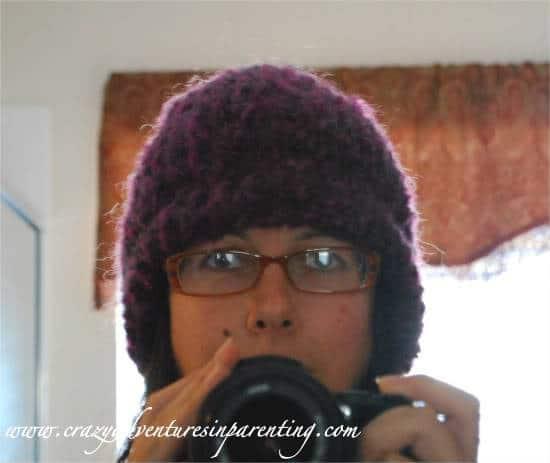purple knitting loom hat