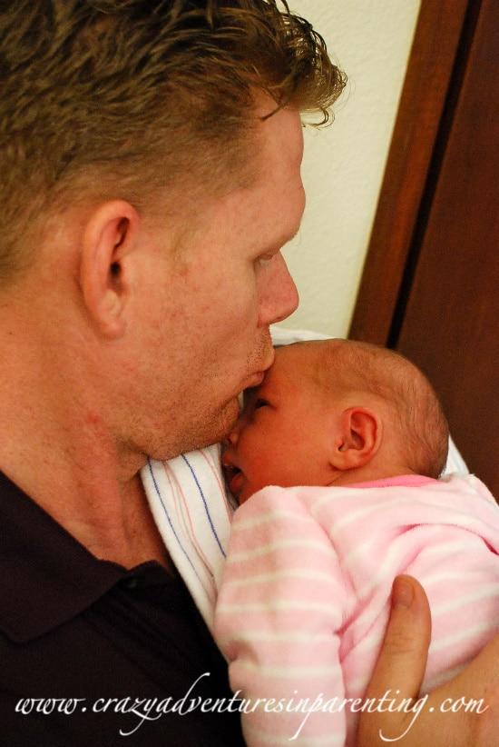 Baby V cuddles daddy