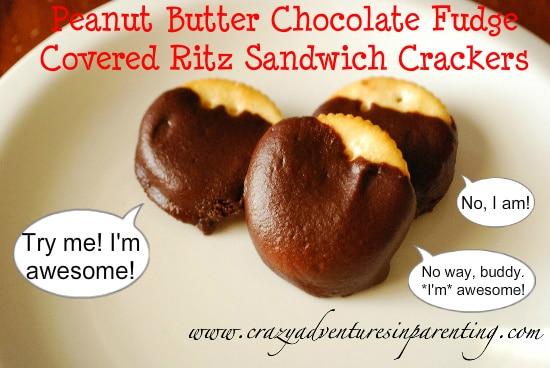 peanut butter chocolate fudge covered ritz sandwich crackers