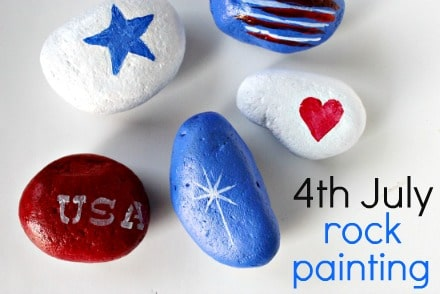 Fourth of July rock painting