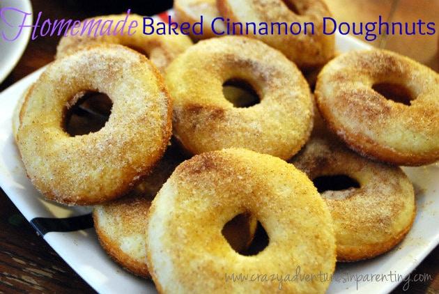 homemade baked cinnamon sugar doughnuts