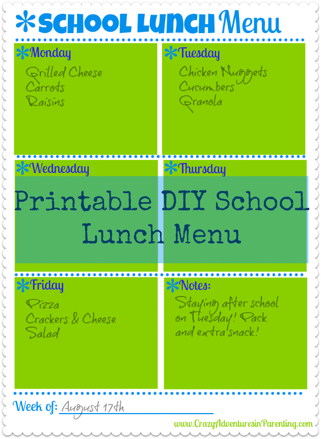 DIY framed school lunch weekly menu