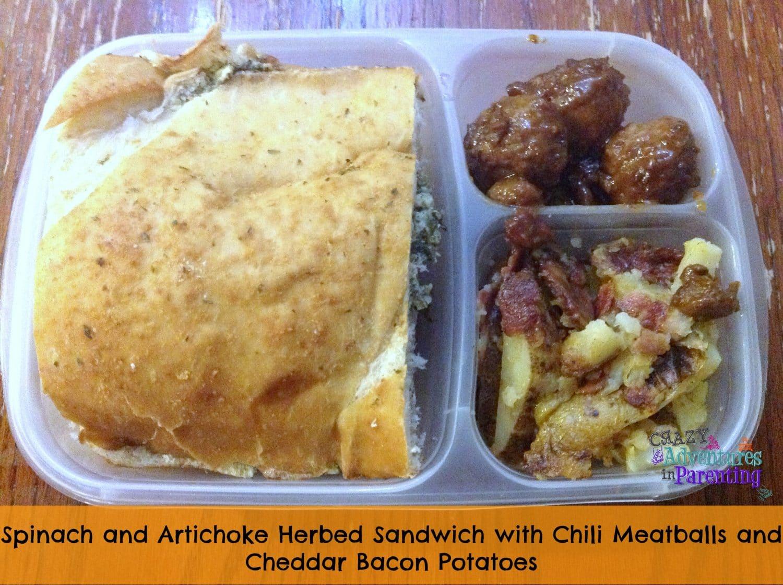 Spinach and Artichoke Dip Sandwich School Lunch