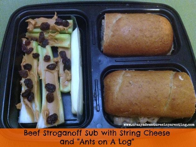 sub sandwich bento with beef stroganoff