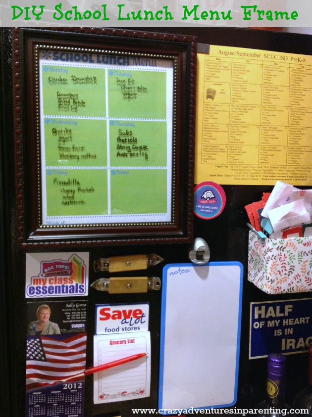 printable weekly school lunch menu in frame