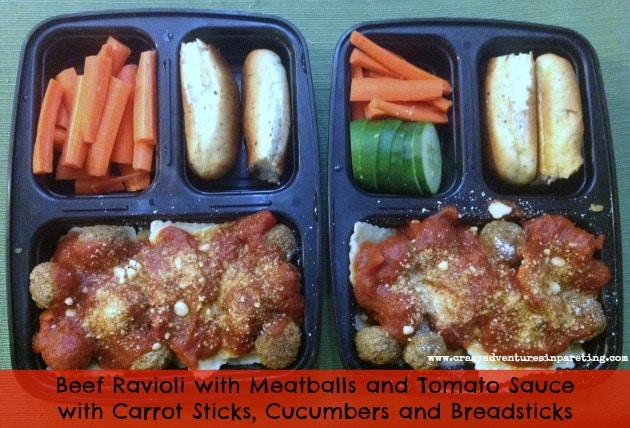 Beef Ravioli and Meatballs School Lunch