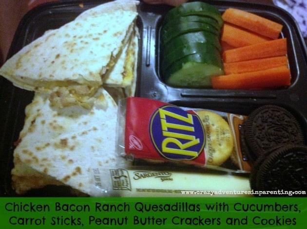 Chicken Bacon Ranch Quesadillas School Lunch