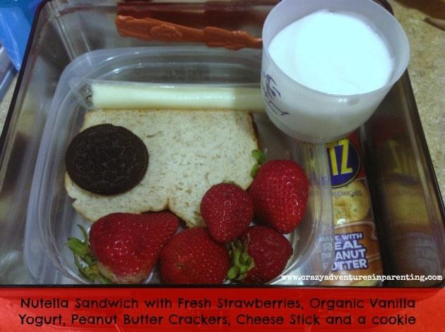 Nutella Sandwich & Yogurt School Lunch