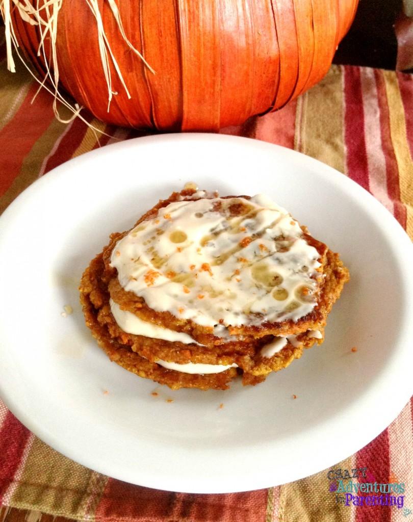pumpkin carrot cake oatmeal protein pancakes