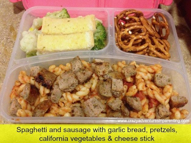 Spaghetti Sausage Garlic Bread school lunch