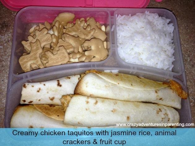 Creamy Chicken Taquitos School Lunch