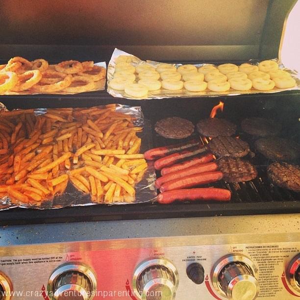 grilling dinner