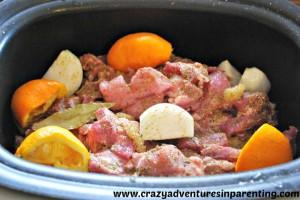pork carnitas ingredients in slow cooker
