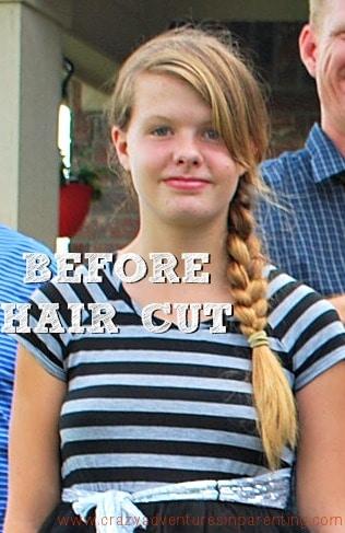 daughters before haircut