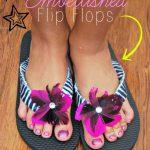 diy felt embellished flip flops closeup