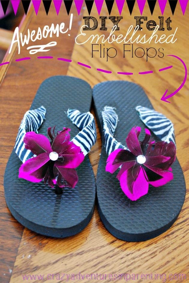 diy felt embellished flip flops