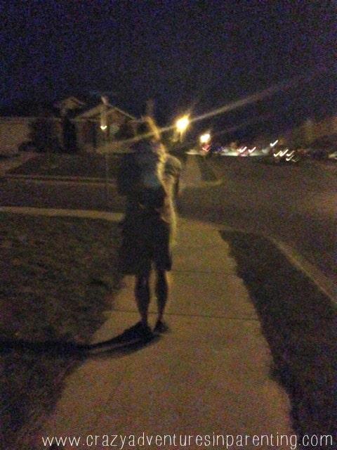 nighttime walk piggy back ride