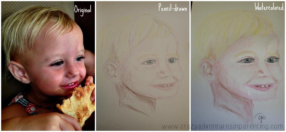 watercolor pencil art portrait
