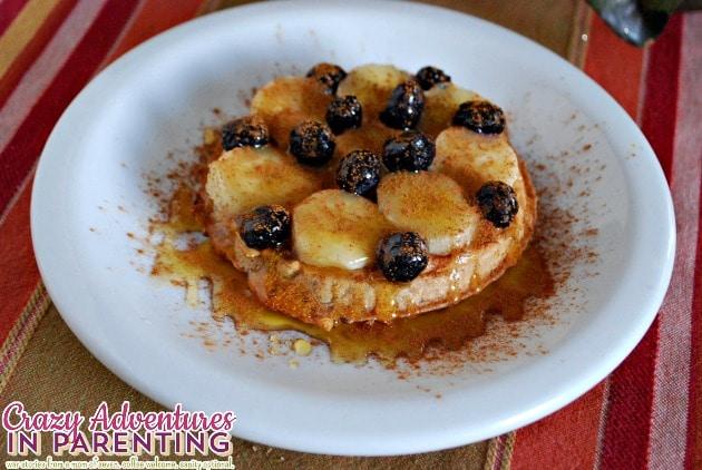 Eggo whole wheat peanut butter banana blueberry raw honey waffle breakfast