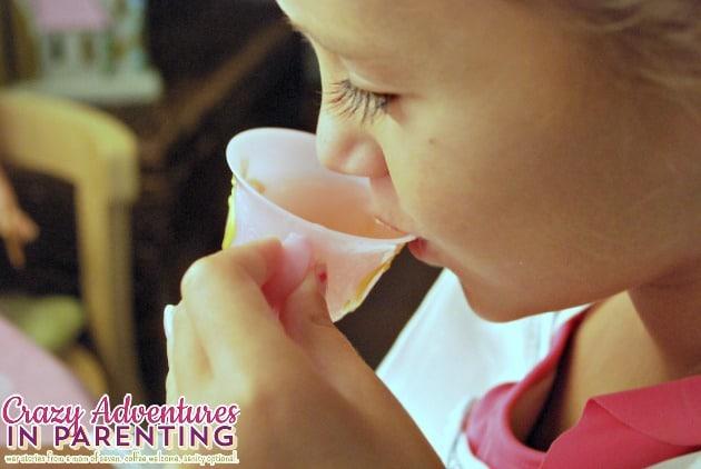 Sipping Capri Sun tea at the Disney Princess Tea Party