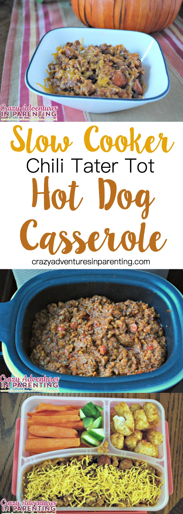 Slow Cooker Chili Tater Tot Hot Dog Casserole