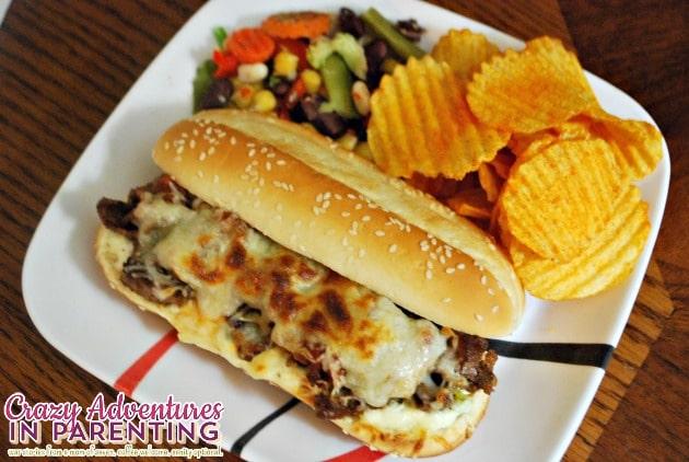 Tex-Mex Philly Cheese Steak Sandwiches school lunch