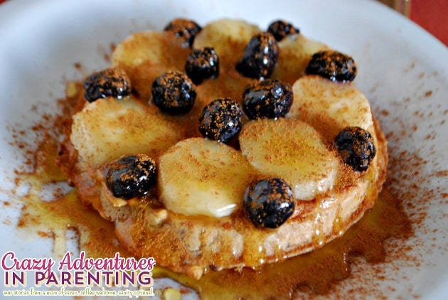 Whole Wheat Peanut Butter Banana Blueberry Waffle Breakfast