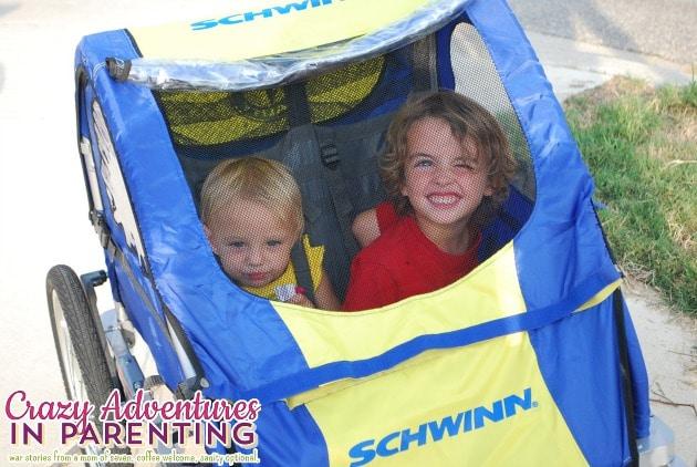 kids in the bike trailer