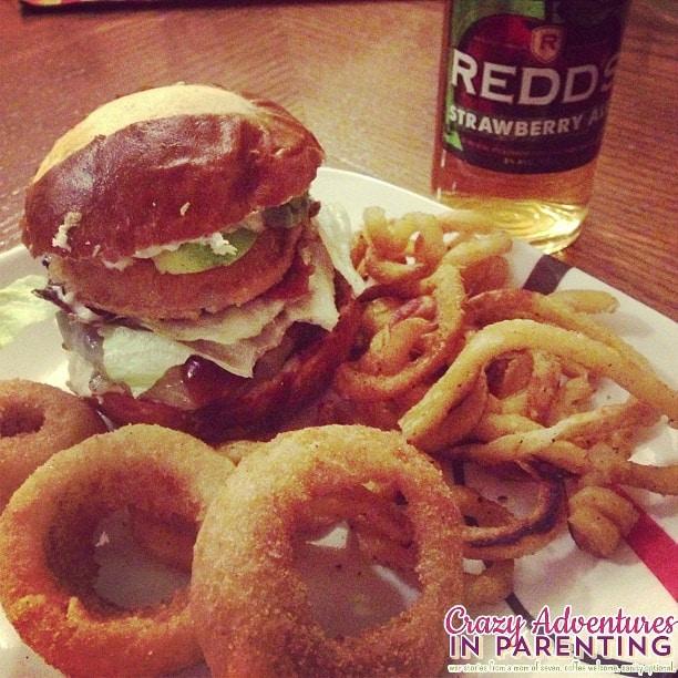 pretzel bread burger with strawberry ale