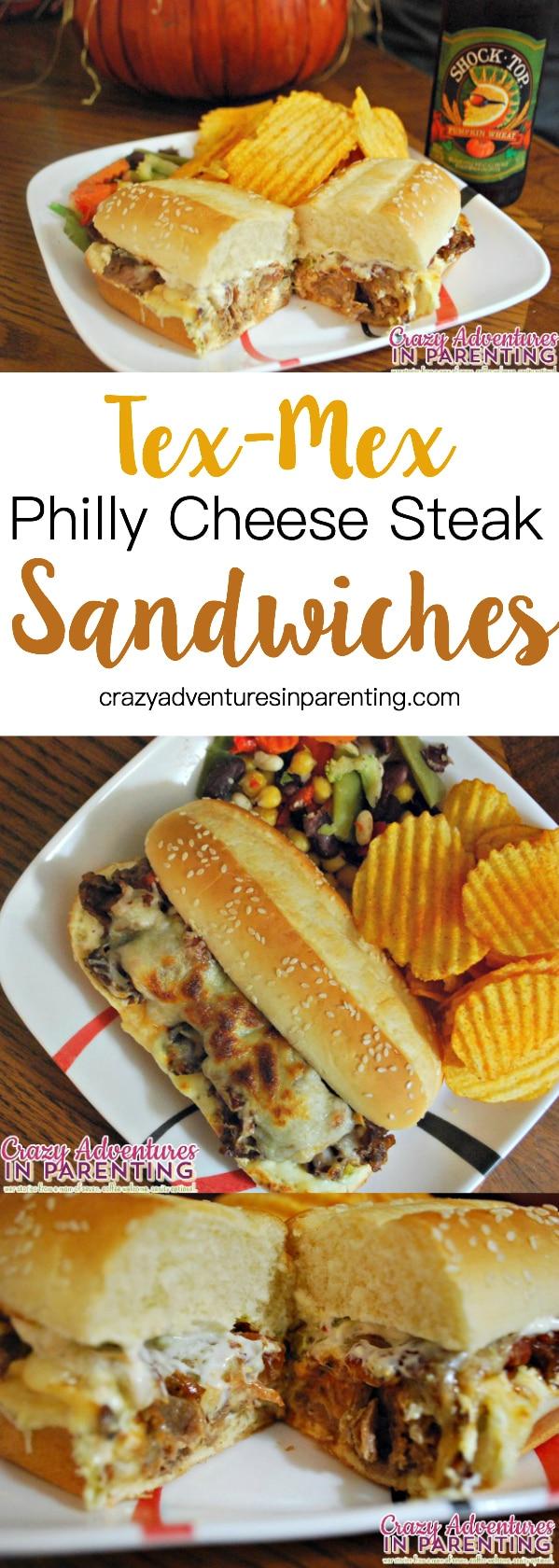 Tex-Mex Philly Cheese Steak Sandwiches