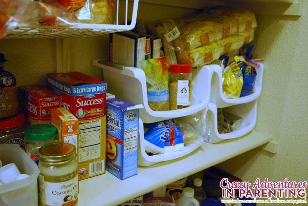 organized pastas, rices, and baking goods on third shelf