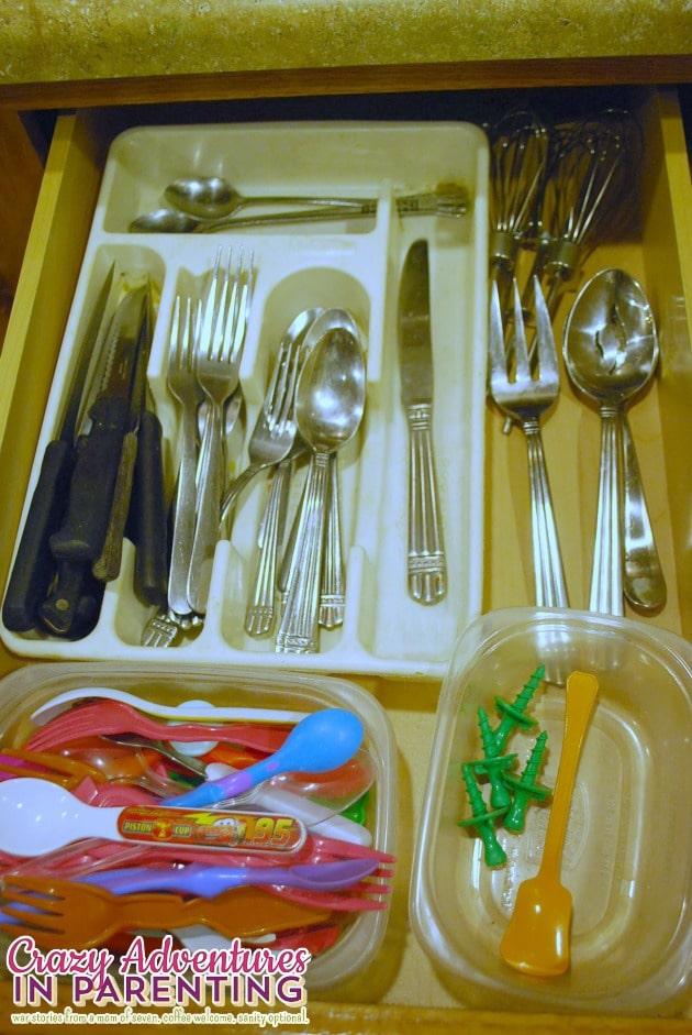 organized silverware drawer