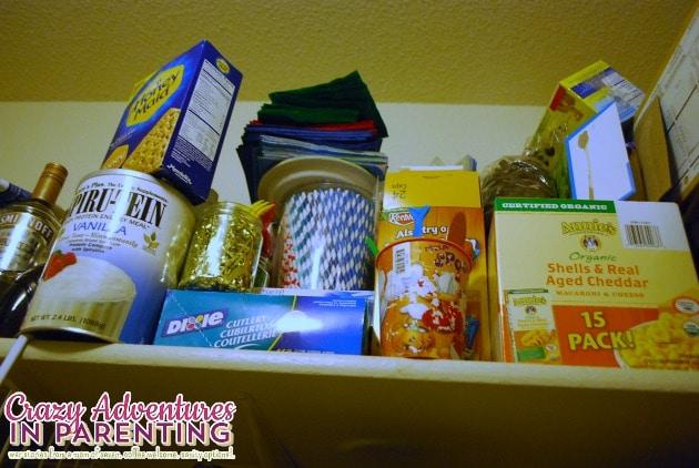 organized top shelf in pantry