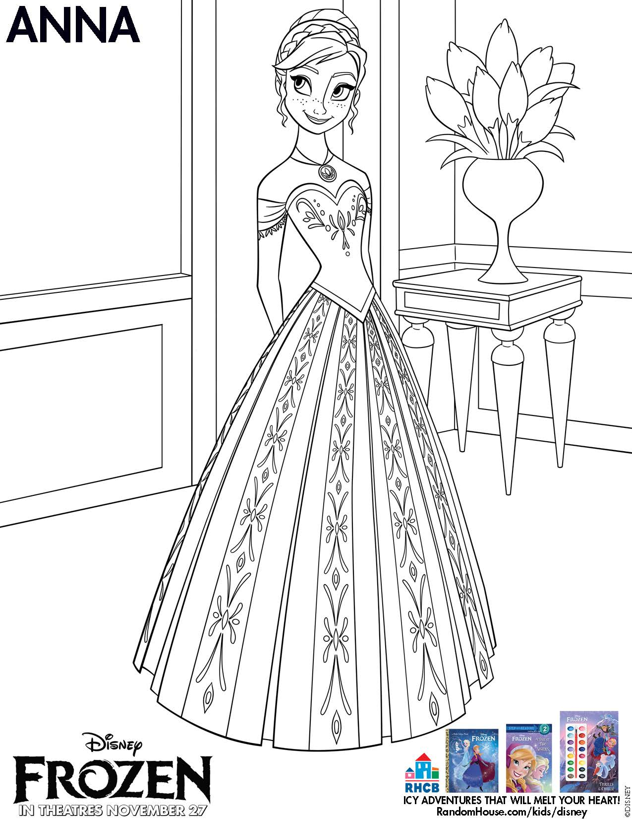 Disney Frozen Anna Coloring Sheet Printable