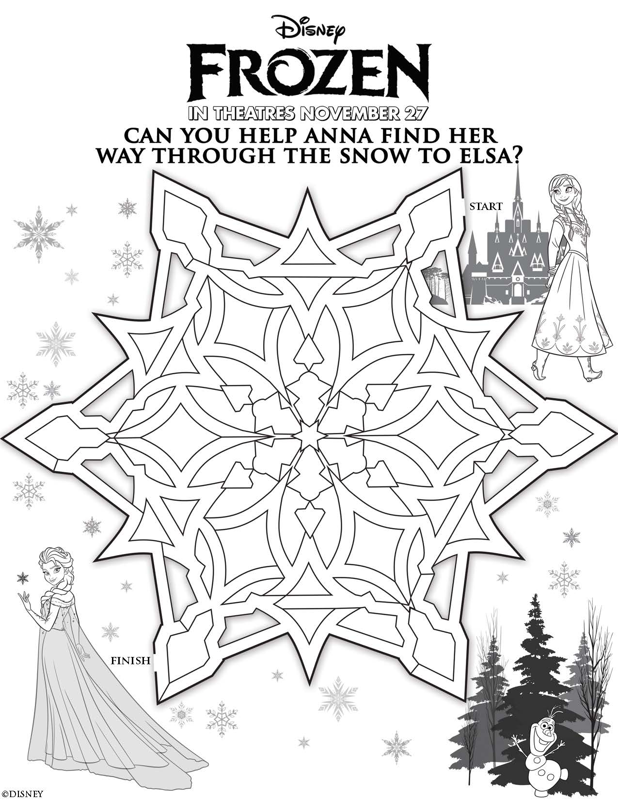 Coloring pages for frozen printable - Disney Frozen Help Anna Find Elsa Maze Printable