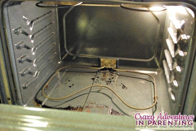 inside oven after
