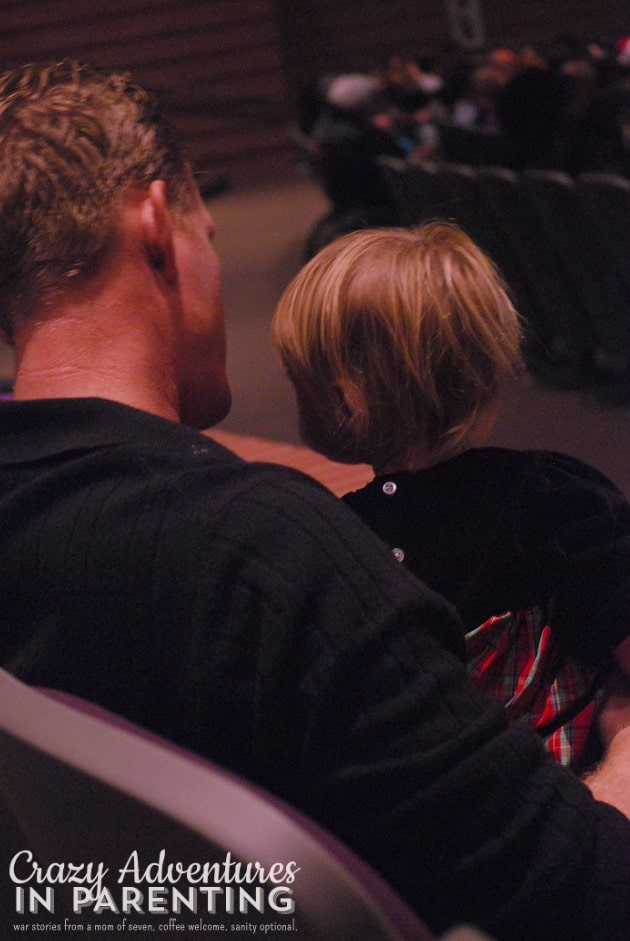 Daddy and baby at the holiday performance