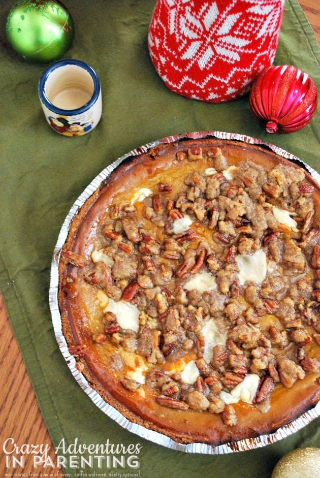 Layered Pumpkin Pie Cheesecake with Pecan Streusel