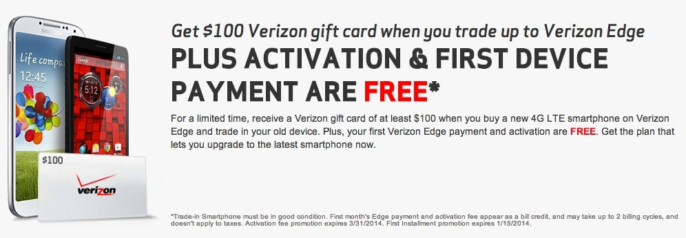 Verizon Edge activation gift card