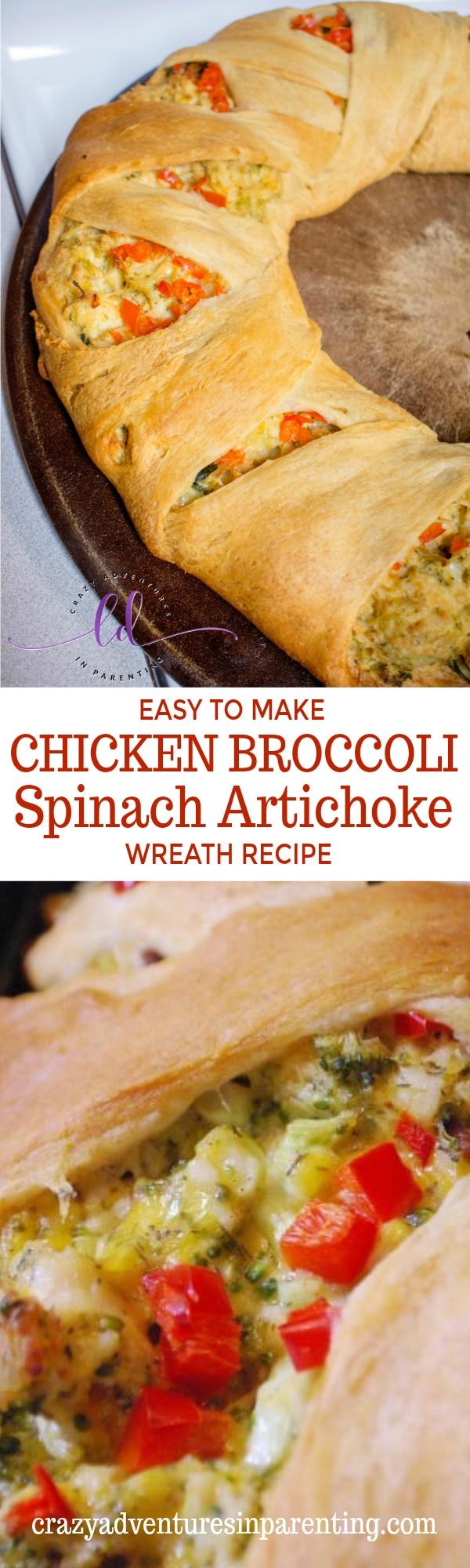 Easy Chicken Broccoli Spinach Artichoke Wreath Recipe