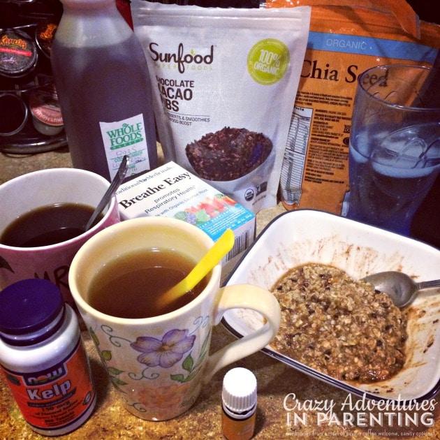 healthy oatmeal breakfast with chia