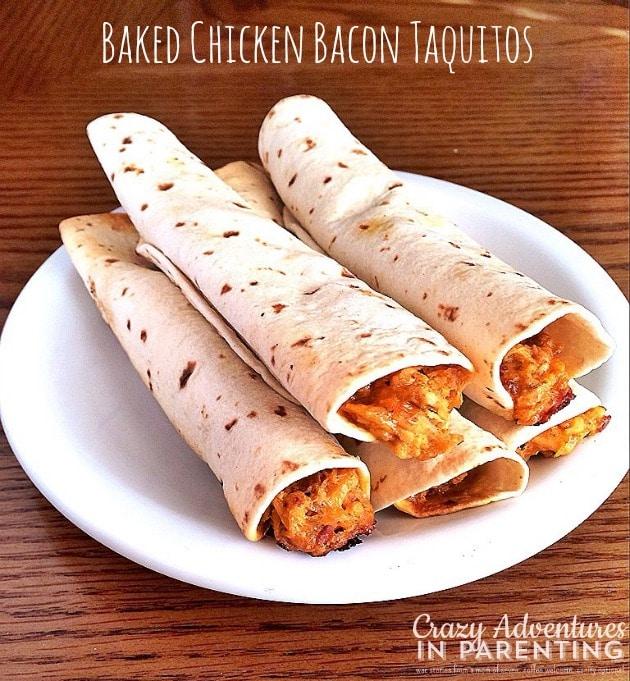Baked Chicken Bacon Taquitos