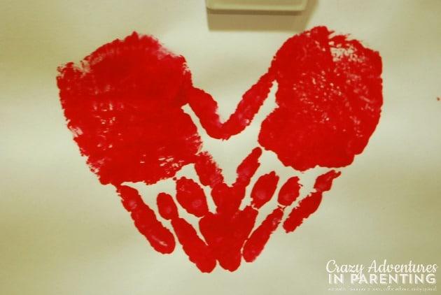 heart-shaped handprints craft