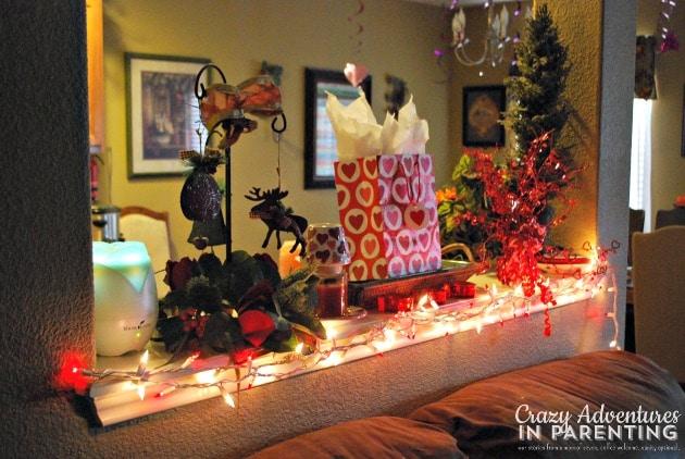 lit up shelf for Valentine's decorations
