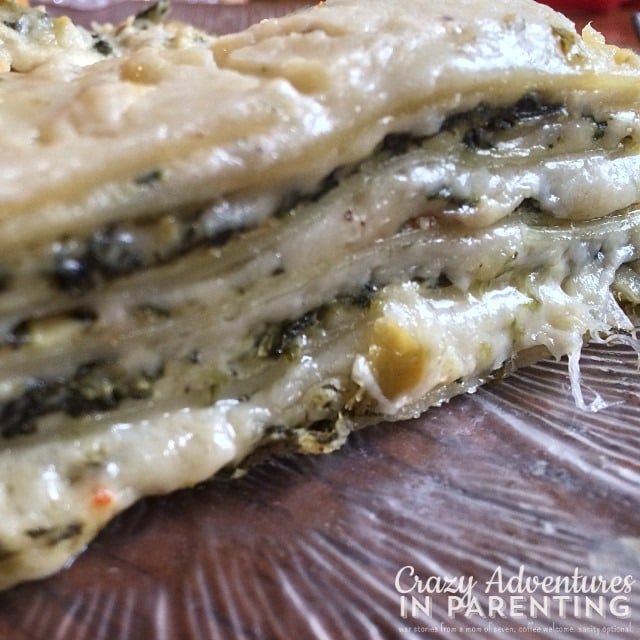 spinach artichoke lasagna lunch